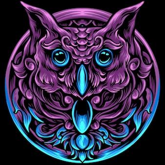 Cabeça de coruja com ornamento