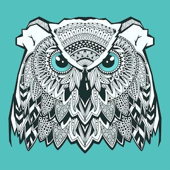 Cabeça de coruja psicodélico com elementos zentangle. doodle desenhado de mão