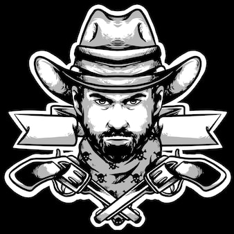 Cabeça de cowboy com chapéu e armas