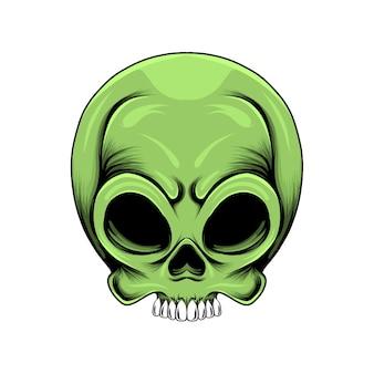 Cabeça de crânio alienígena verde com olhos de buracos e dentes brancos