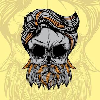 Cabeça de crânio com barba de hipster ilustração em vetor