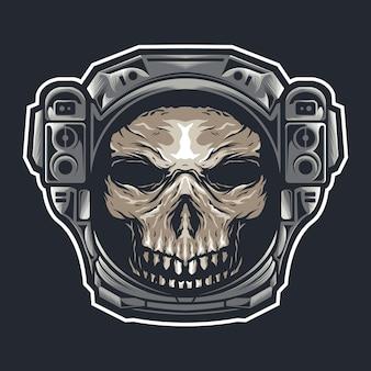 Cabeça de crânio com capacete de astronauta
