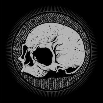 Cabeça de crânio com design de ilustração vetorial detalhada de arte de linha