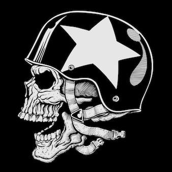 Cabeça de crânio com ilustração de capacete