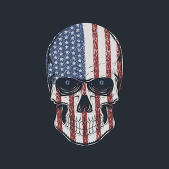 Cabeça de crânio com ilustração de textura de bandeira americana Vetor Premium