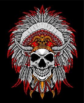 Cabeça de crânio de apache indiano