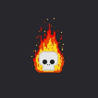 Cabeça de crânio de fogo de pixel
