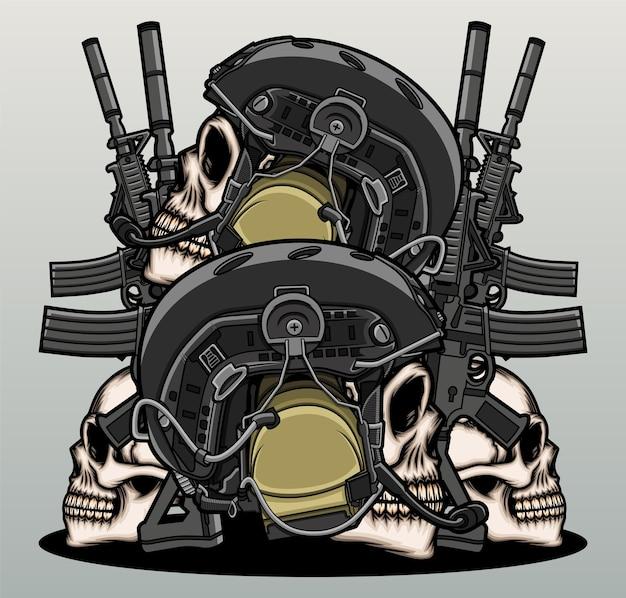 Cabeça de crânio de guerreiro de guerra.