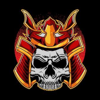 Cabeça de crânio de samurai isolada em preto