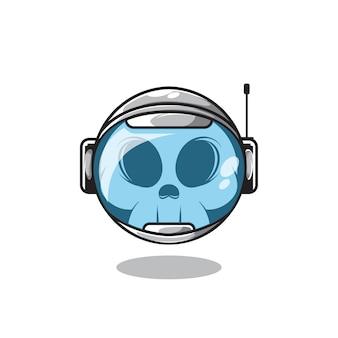 Cabeça de crânio dentro do capacete de astronauta ilustração