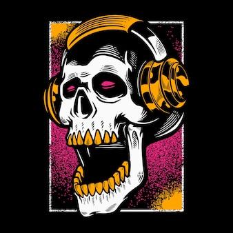 Cabeça de crânio ouvindo música em fones de ouvido