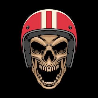 Cabeça de crânio usando ilustração vetorial de capacete vintage vermelho
