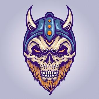 Cabeça de crânio viking com capacete de chifre ilustrações vetoriais para o seu trabalho logotipo, t-shirt da mercadoria do mascote, adesivos e designs de etiquetas, cartazes, cartões comemorativos anunciando empresas ou marcas.