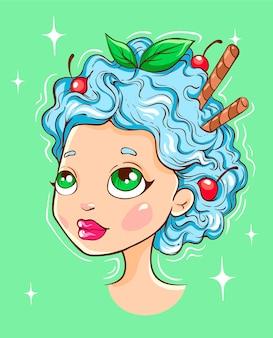 Cabeça de creme de menta, ilustração de menina
