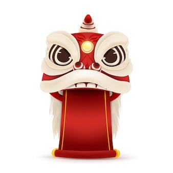 Cabeça de dança de leão feliz ano novo chinês com pergaminho em branco.