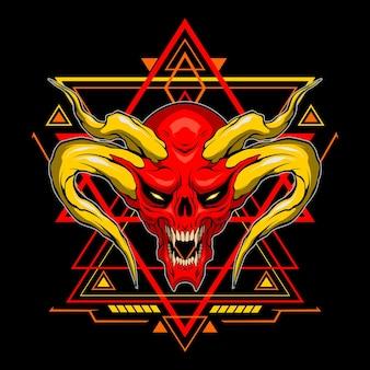 Cabeça de demônio vermelha com geometria sagrada para uso comercial