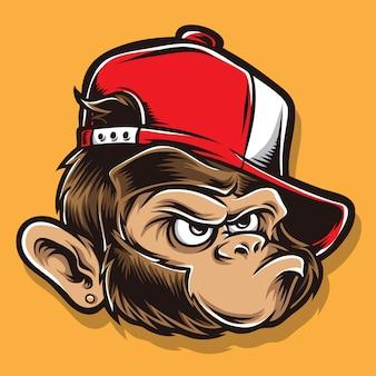 Cabeça de desenhos animados de macaco funky
