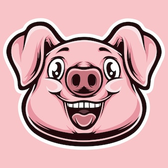 Cabeça de desenhos animados de porco pinky
