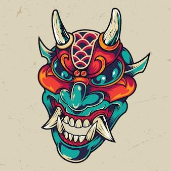 Cabeça de diabo colorido vintage