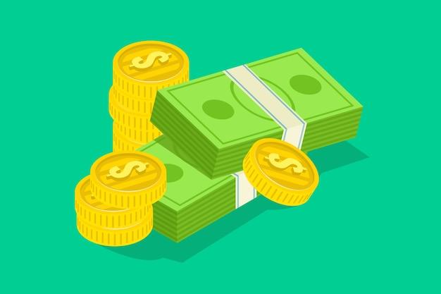 Cabeça, de, dinheiro, com, pacote, de, dólares, nota, e, moedas douradas
