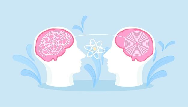 Cabeça de dois humanos com pensamentos emaranhados e desemaranhados dentro. prática de psicoterapia, atendimento psicológico, serviço de psicólogo, aconselhamento privado, psicologia. terapeuta e paciente