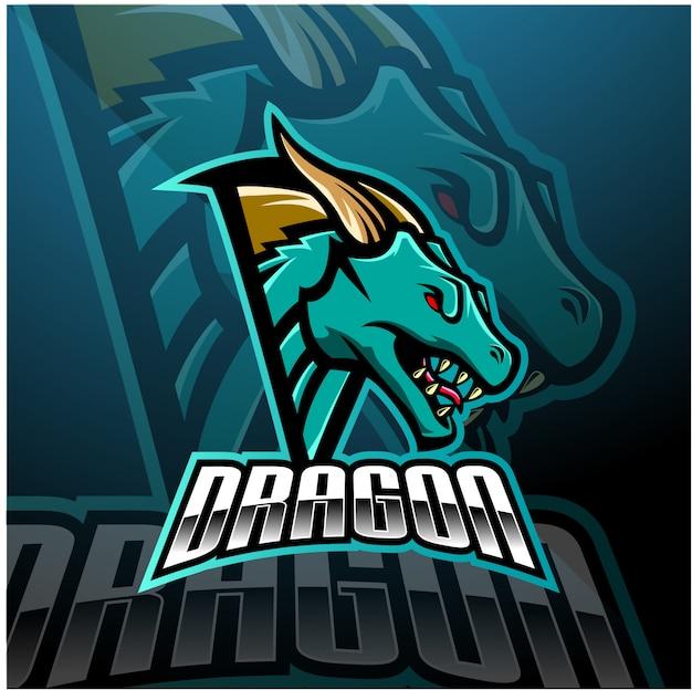 Cabeça de dragão esports mascote design de logotipo