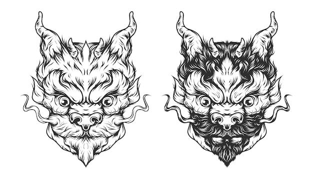 Cabeça de dragão vintage em estilo monocromático