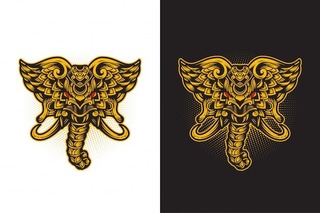 Cabeça de elefante mão desenhada design de camiseta ornamental