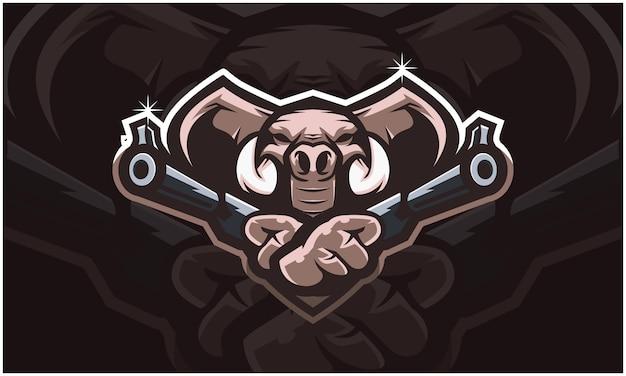 Cabeça de elefante segurando duas armas