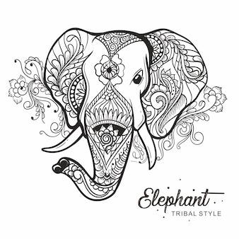 Cabeça de elefante tribal estilo mão desenhada