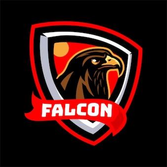 Cabeça de falcão com logotipo do mascote de fita vermelha