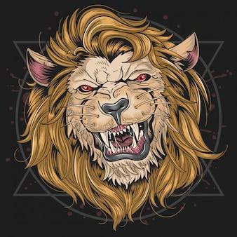 Cabeça de feroz do leão