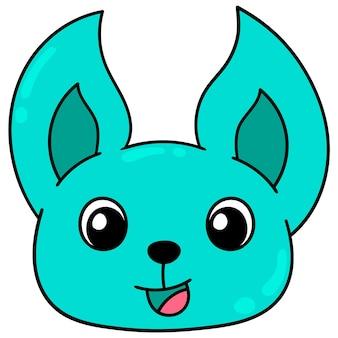 Cabeça de gato azul cara engraçada feliz rindo, emoticon de caixa de ilustração vetorial. desenho do ícone do doodle