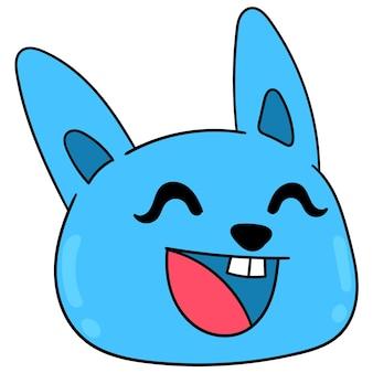 Cabeça de gato azul rindo cara feliz, emoticon de caixa de ilustração vetorial. desenho do ícone do doodle