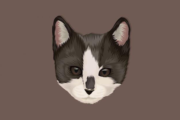 Cabeça de gato bonito realista desenho a preto e branco à mão