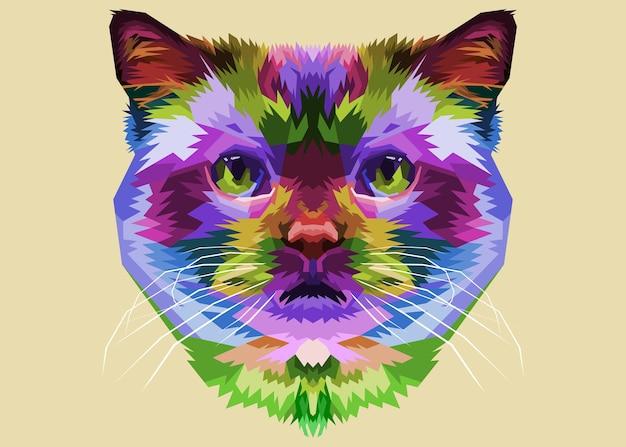 Cabeça de gato colorida no estilo pop art