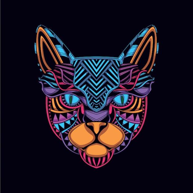 Cabeça de gato de cor neon decorativo brilho