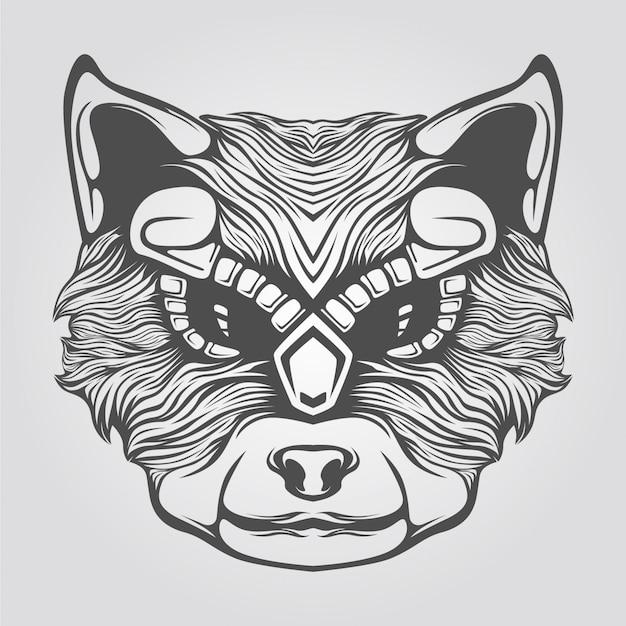 Cabeça de gato desenhada de mão