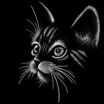 Cabeça de gato em estilo desenhado
