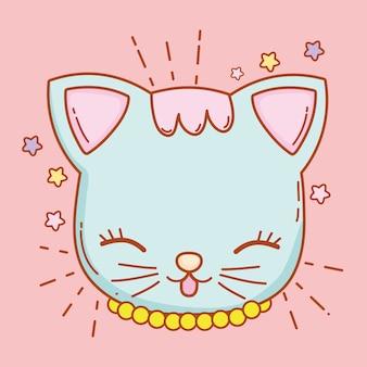 Cabeça de gato fofo com bigodes e estrelas