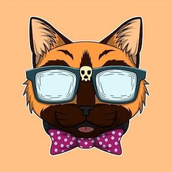 Cabeça de gato nerd