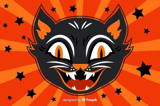 Cabeça de gato preto assustador fundo de halloween