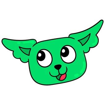 Cabeça de gato verde sorrindo, rosto bonito, emoticon de caixa de ilustração vetorial. desenho do ícone do doodle