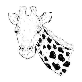 Cabeça de girafa em preto e branco com estilo de desenho ou desenho à mão