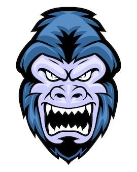 Cabeça de gorila brava
