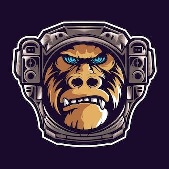 Cabeça de gorila com capacete de astronauta