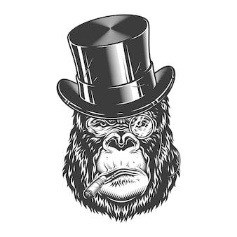Cabeça de gorila em estilo monocromático