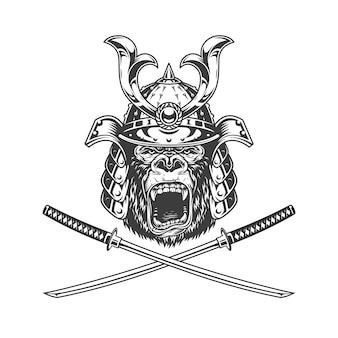 Cabeça de gorila feroz no capacete samurai