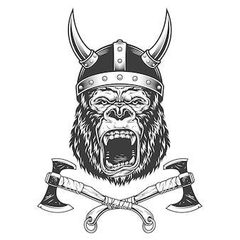 Cabeça de gorila feroz no capacete viking