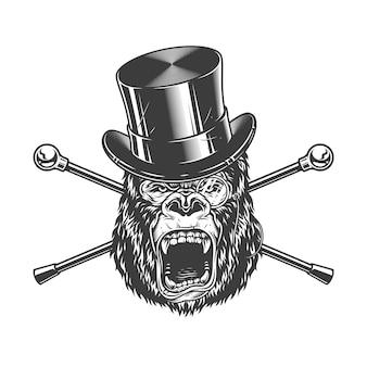 Cabeça de gorila feroz no chapéu do cilindro